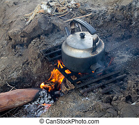 kettle on the nature