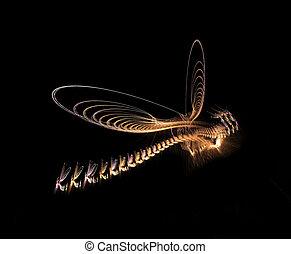 Fractal Dragonfly - Delicate golden fractal dragonfly over...