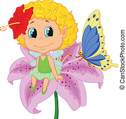Cartoon Baby fairy elf sitting on f - Vector illustration of...
