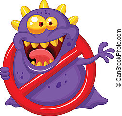 Stop virus - purple virus in red al - Vector illustration of...