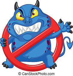 Stop virus - blue virus in red aler - Vector illustration of...