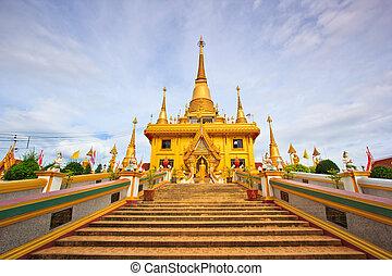 Golden pagoda at Wat Khiri Wong Temple in Nakhon Sawan...