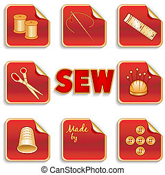 Sewing Stickers, Red Background