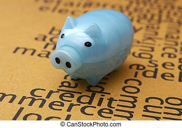 Piggy bank on credit application concept