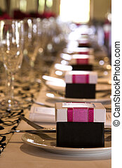 Wedding Table Setting - Wedding table setting with crockery...