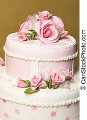 Wedding Cake - Pink and white floral design wedding cake