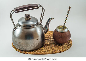 Traditional Argentinean Bevarage mate with kettle. Yerba...