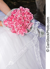 Wedding Flowers - Wedding Bouquet with pink roses and pearly...