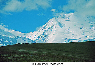 A photo of Alay valley, Kyrgystan. In the foreground steppe,...