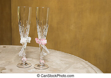 Two glasses - Two champagne glasses for the bride and groom