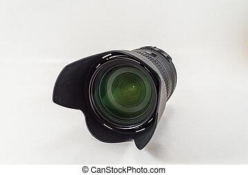 Digital Camera Telephoto Lens isolates on white background.