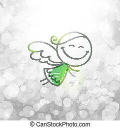 christmas angel - christmas card with hand drawn angel