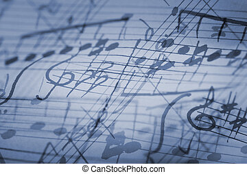 Rhapsody in Blue - hand-written musical notation background.