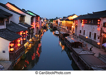 night view of a canal in old Suzhou, China - A night photo...