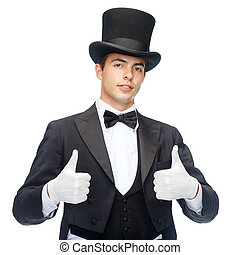 magician in top hat showing thumbs up - magic, performance,...