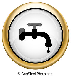 Water tap icon - Shiny glossy icon with black design on...