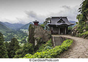 A photo of Yamadera buddhist temple, Japan. A traditional...