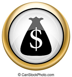Dollar sack icon - Shiny glossy icon with black design on...