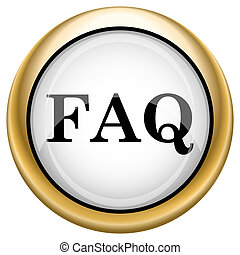 FAQ icon - Shiny glossy icon with black design on white and...