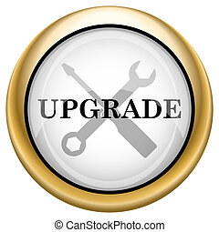 Upgrade icon - Shiny glossy icon with black design on white...