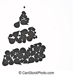 Christmas tree handmade on white background