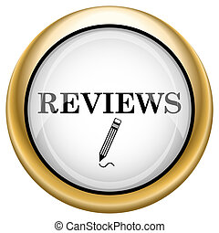 Reviews icon - Shiny glossy icon with black design on white...