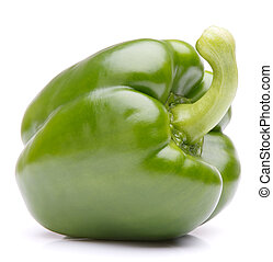 Green sweet bell pepper isolated on white background cutout...