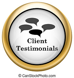 Client testimonials icon - Shiny glossy icon with black...