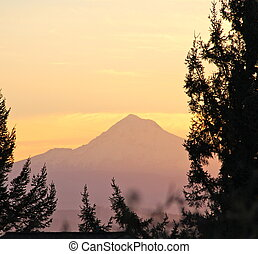 Distant mountain at sunrise