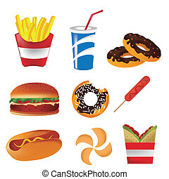 fast food - nine icons of fast food in white background