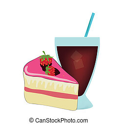 cake with drink - a delicious pink piece of cake with...