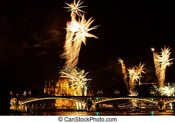 colorful fireworks - beauty colorful Fireworks Against a...