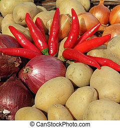 coloridos, fresco, legumes, agricultores, mercado,...