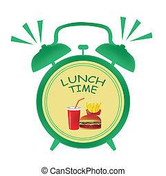 almoço, tempo, relógio