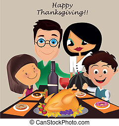 family in thanksgiving day - a family celebrating...