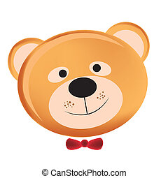 happy teddy bear - the face of a happy teddy bear with black...