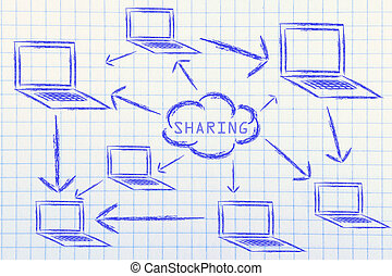 networks, internet connections and data sharing - conceptual...