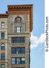 Architectural details on Soho building, Manhattan, New York...