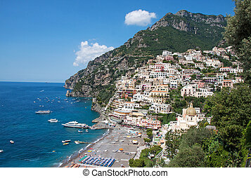 Positano, Amalfi Coast, Italy - Panoramic view of Positano...