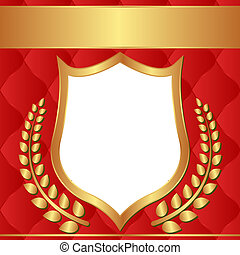 red background with golden ornaments and transparent space...