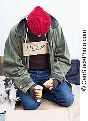 Homeless eating his meal