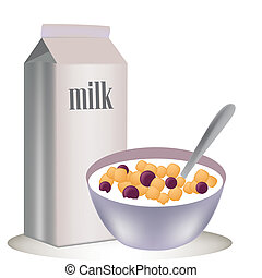 cereal - a box of cold milk and a cereal in a dish