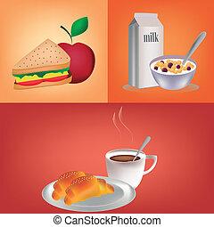 three different breakfast