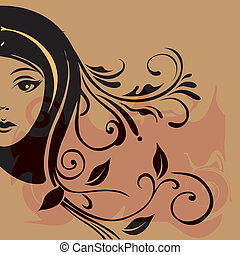 woman face - a black silhouette of the face of a woman...
