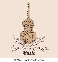 violin - a violin composed by brown sillhouetes of music...