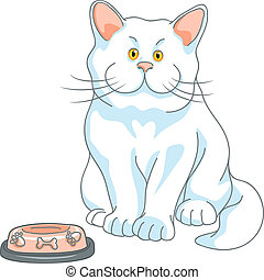 vector hungry cute white cat with empty bowl