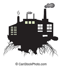 industry - a black silhouette of a group of building with...