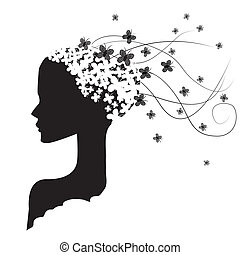 woman and butterflies - a black silhouette of a woman with a...