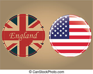 two flags in circles