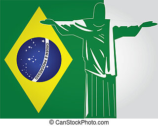 the brazil flag with a green silhouette of cristo rey